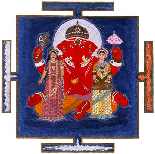Ganesh With Consorts Riddhi And Siddhi